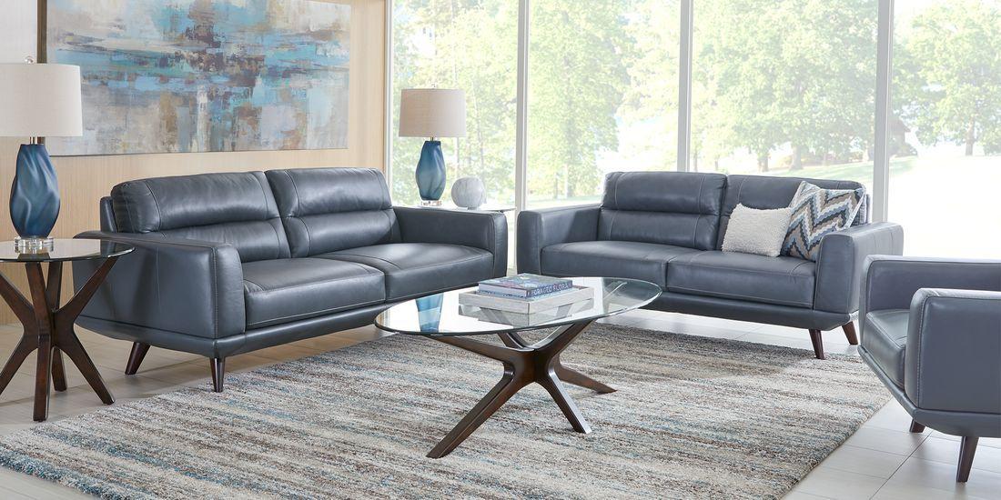 Sofia Vergara Capistrano Blue Leather Sectional Living Room