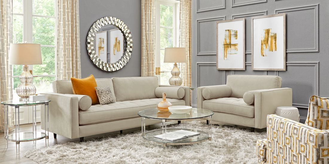Sofia Vergara Pacific Palisades Beige Plush Living Room